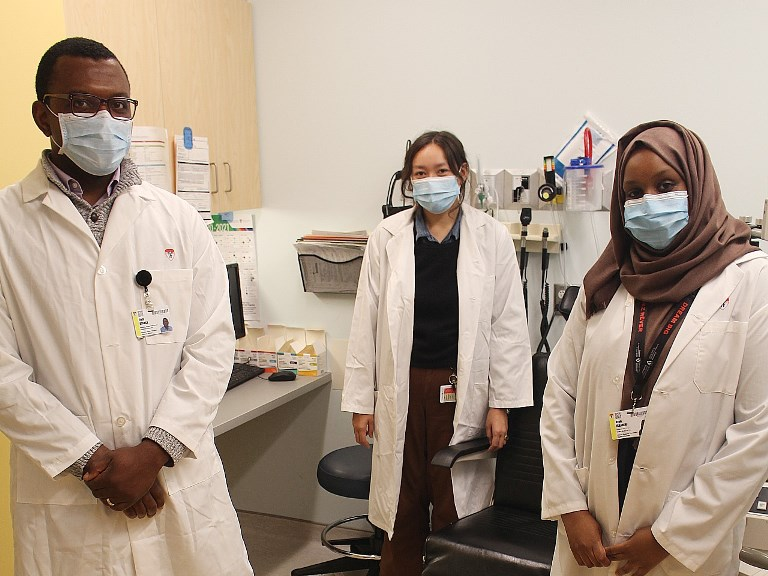 Clinical Research Coordinators of the Centre for Innovative Medicine. From left to right:  Elvis Atanga, Christine Gannon, Ayan Ibrahim.