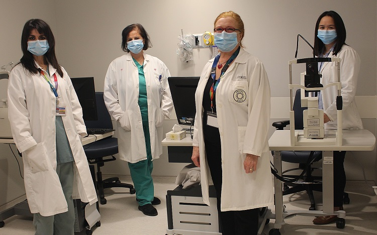 MCH Ophtalmology Clinical staff. From left to right: Gaëla Cariou-Panier, Mona Hijazi, Raquel Beneish, Connie Pham.
