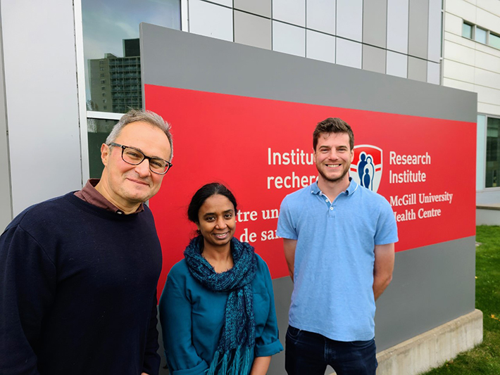 Maziar Divangahi, principal investigator, Nargis Khan, postdoctoral Fellow and first author of the study, Jeff Downey, PhD candidate and co-first author of the study