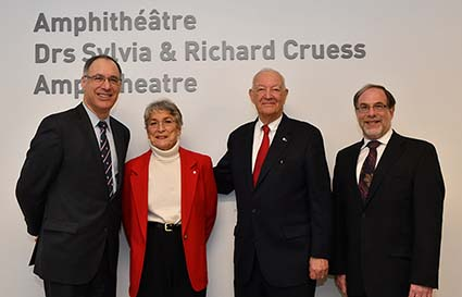 Left to right: Dr. David Eidelman, Dr. Sylvia Cruess, Dr. Richard Cruess, Dr. Bruce Mazer