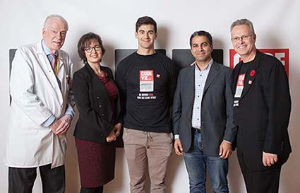 Left to right: Dr. David S. Mulder, Martine Alfonso, Max Pacioretty, Reza Farivar, PhD, Jean-Guy Gourdeau