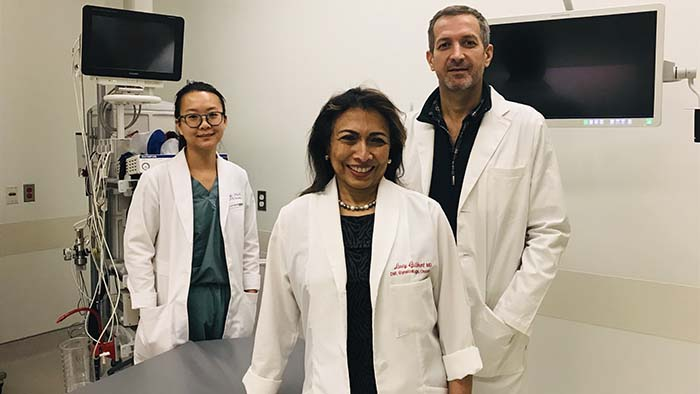 Dr. Lucy Gilbert with her colleagues Drs. Xing Zeng and Kris Jardon at the Centre for Innovative Medicine (CIM) of the Research Institute of the MUHC. Credit: MUHC