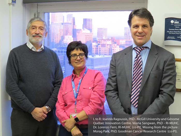L to R: Ioannis Ragoussis, PhD - McGill University and Génome Québec Innovation Centre. Veena Sangwan, PhD - RI-MUHC. Dr. Lorenzo Ferri, RI-MUHC (co-PI). Missing from the picture: Morag Park, PhD, Goodman Cancer Research Centre (co-PI).
