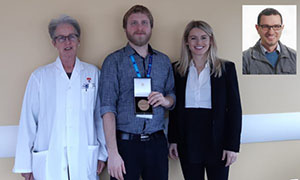 The authors with the Rotblat medal (from left to right): Carolyn Freeman, Martin Vallières and Sonia Skamene from McGill University, and (inset) Issam El Naqa, now at the University of Michigan. (Photo courtesy of Martin Vallières)