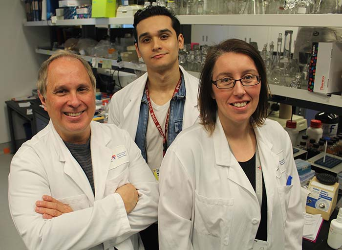 From L to R : Martin Olivier (Principal Investigator) with Alonso da Silva Lira Filho (PhD student) and Caroline Martel (Research assistant) in their laboratory at the Research Institute of the McGill University Health Centre.
