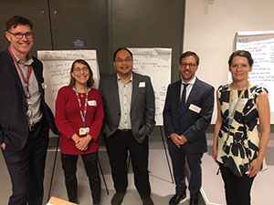 Organizing Committee for the MUHC Consortium for Rare Disease Research (from L to R): researchers John Mitchell (pediatric endocrinologist), Nancy Braverman (medical geneticist), Donald Vinh (infectious diseases/medical microbiology) and Arnold Kristof (respirologist/intensivist), with Inga Murawski (Manager, Translational Research in Respiratory Diseases Program, RI-MUHC), at the inaugural strategic symposium (October 2018).