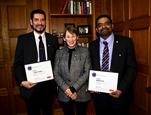McGill Principal Suzanne Fortier with the winners of this year's Principal's Prize for Public Engagement through Media, PhD candidate José Mauricio Gaona (left) in the category for graduate students and post-doctoral fellow category, and Dr. Madhukar Pai (right) in the academic staff category.