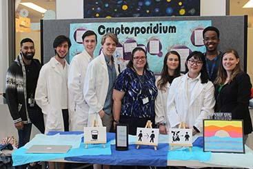 The Cryptosporidium project from Vincent Massey Collegiate with mentors from Dr. Ndao's laboratory: Adam Hassan, Dilhan Perera and Dr. Karine Sonzogni-Desautels.