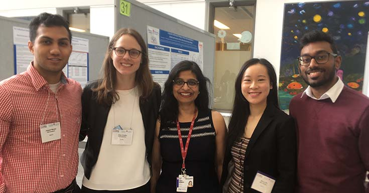 Dr. Kaberi Dasgupta (centre), director of the Centre for Outcomes Research and Evaluation at the Research Institute of the MUHC, and her team, on May 14, 2019