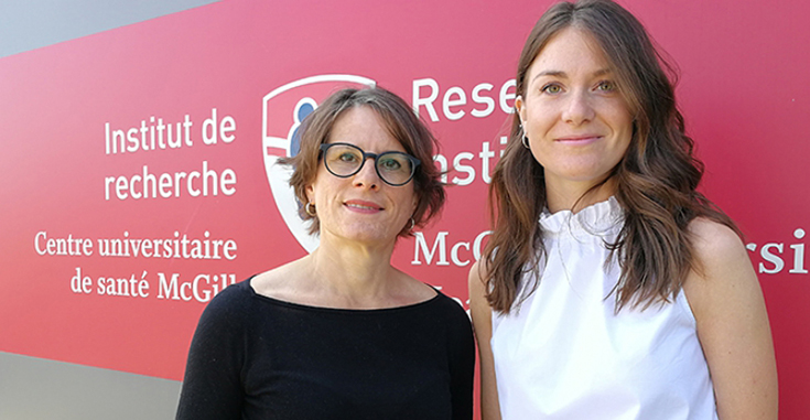 Dr. Stéphanie Chevalier, a nutritionist and scientist with the Metabolic Disorders and Complications Program at the RI-MUHC, with her student Anne-Julie Tessier, first author of the study.