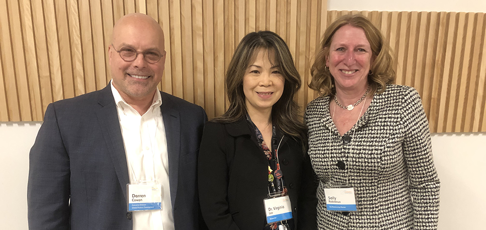 Left to right: Darren Cowan (Executive Director, Global Product Development, Pfizer), Virginia Lee, PhD (Scientist, Cancer Research Program, Research Institute of the MUHC), and Sally Robidoux (Site Relationship Partner, Pfizer)