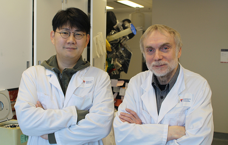 Postdoctoral fellow Dongsic Choi, PhD, with Janusz Rak, MD, PhD, a senior scientist in the Child Health and Human Development Program at the Research Institute of the MUHC
