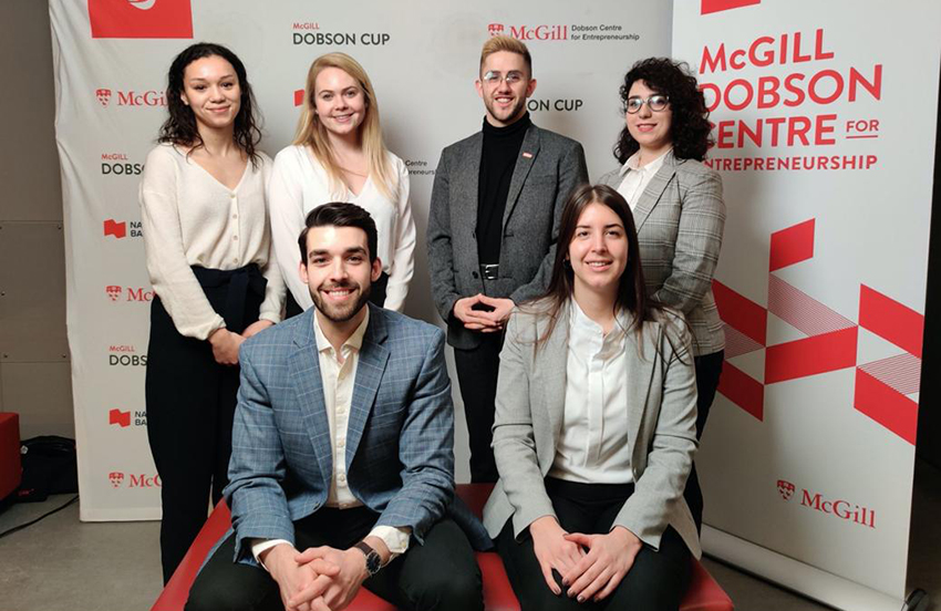NURA Medical, the winning Surgical Innovation team in 2020, from left to right, seated: Jean-Gabriel Lacombe (McGill/RI-MUHC), Catherine Pepe (Concordia); standing: Sofia Addab (McGill/RI-MUHC), Georgia Powell (McGill/RI-MUHC), Nicolas Minvielle (École de technologie supérieure), Naghmeh Ansari (Concordia)